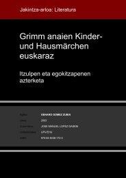 Grimm anaien Kinder- und Hausmärchen euskaraz