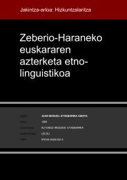 Zeberio-Haraneko euskararen azterketa etno- linguistikoa
