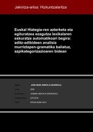 Euskal Hiztegia-ren azterketa eta egituratzea ezagutza ... - Euskara