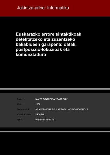 Euskarazko errore sintaktikoak detektatzeko eta zuzentzeko ...