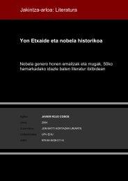 Yon Etxaide eta nobela historikoa Jakintza-arloa: Literatura - Euskara