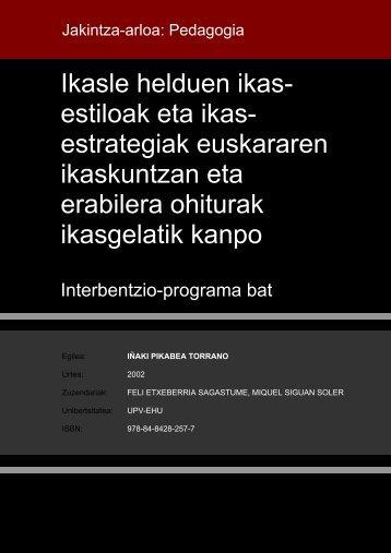Ikasle helduen ikas- estiloak eta ikas- estrategiak euskararen ...
