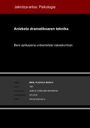 Anizketa dramatikoaren teknika Jakintza-arloa: Psikologia - Euskara
