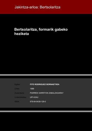 Bertsolaritza, formarik gabeko heziketa Jakintza-arloa ... - Euskara