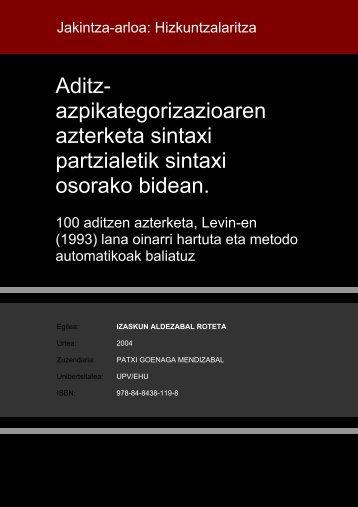 Aditz- azpikategorizazioaren azterketa sintaxi partzialetik ... - Euskara