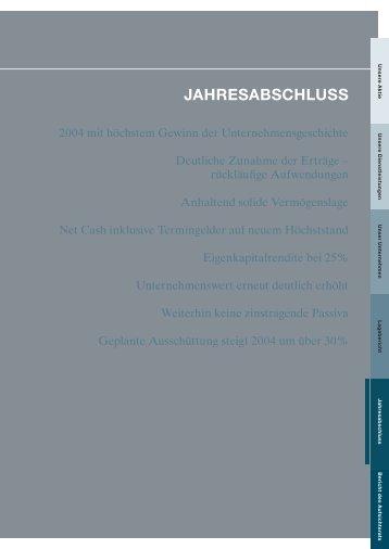 Jahresabschluss und Lagebericht 2004 - Euwax AG