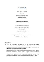Tagesordnung - Euwax AG