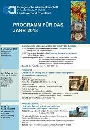 programm für das jahr 2013 - Evangelische Akademikerschaft in ...