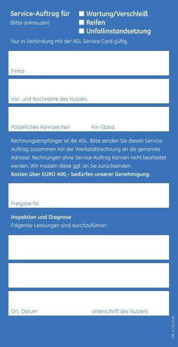 Service-Auftrag für Wartung/Verschleiß Reifen Unfallinstandsetzung