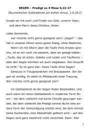 Predigt von Pfr. I. Stromberger (Ökum. Gottesdienst, 26. Mai 2013