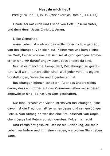 Predigt zu Johannes 21,15-19 (Pfr. I. Stromberger, 14. April 2013
