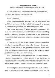 Predigt zu Johannes 17,20-26 (Pfr. I. Stromberger, Himmelfahrt 2013)