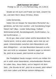 """1 """"Gott kennen ist Leben"""" Predigt zu Joh 17,1-8 (Palmsonntag, 24.3 ..."""