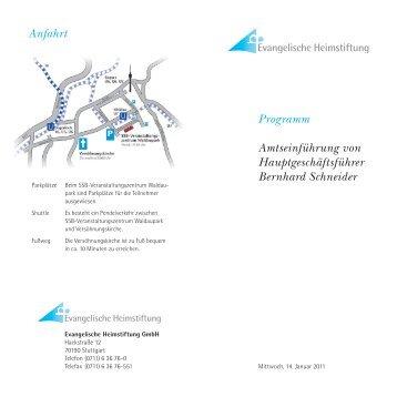 Programm Amtseinführung von Hauptgeschäftsführer Bernhard ...