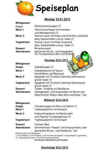 Speiseplan vom 23_01_2012 bis 29_01_2012