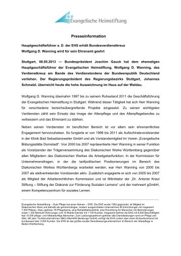 Presseinformation - Evangelische Heimstiftung