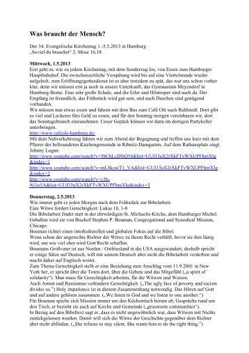 Bericht vom 34. Deutschen Evangelischen Kirchentag in Hamburg 1.