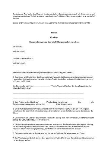 muster kooperationsvertrag hjr und jugendarbeit in der ekhn - Kooperationsvertrag Muster Kostenlos