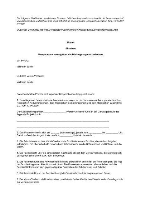 Muster Kooperationsvertrag Hjr Und Jugendarbeit In Der Ekhn