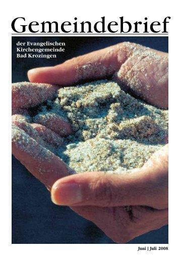 Gemeindebrief Juni/Juli 2008 - Evangelische Kirchengemeinde Bad ...