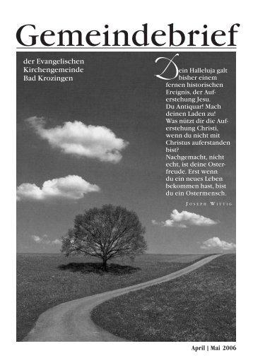 Gemeindebrief April/Mai 2006 - Evangelische Kirchengemeinde ...