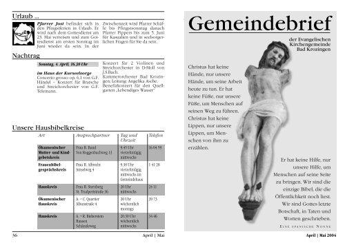 Gemeindebrief April/Mai 2004 - Evangelische Kirchengemeinde ...