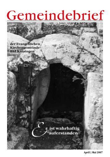 Gemeindebrief April/Mai 2007 - Evangelische Kirchengemeinde ...