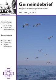 Gemeindebrief, Ausgabe April/Mai/Juni 2013 - Evangelische ...