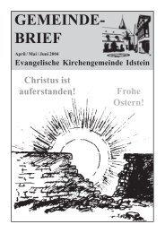 Gemeindebrief, Ausgabe April/Mai/Juni 2004 - Evangelische ...