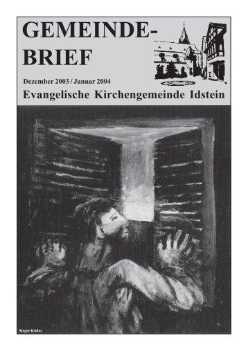 Gemeindebrief, Ausgabe Dezember 2003/Januar 2004