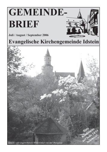 Gemeindebrief, Ausgabe Juli/August/September 2006