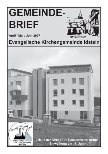 Gemeindebrief, Ausgabe April/Mai/Juni 2007 - Evangelische ...