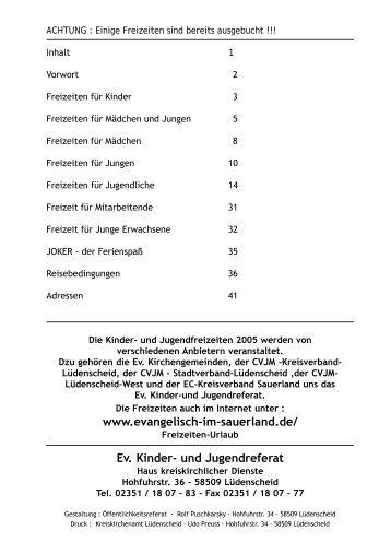 Ev. Kinder- und Jugendreferat - Ev. Kirchenkreis Lüdenscheid ...