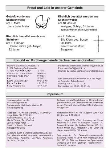 April - Mai 2013 - Evangelische Kirchengemeinde Sachsenweiler ...
