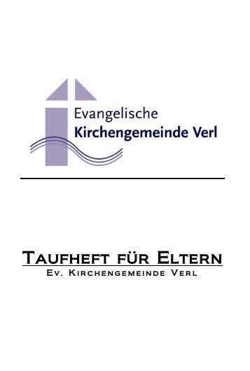 Taufheft für Eltern - Evangelische Kirchengemeinde Verl