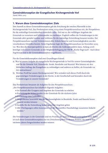 Unsere Gemeindekonzeption - Evangelische Kirchengemeinde Verl