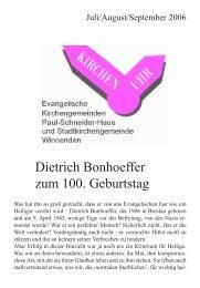 Dietrich Bonhoeffer zum 100. Geburtstag - Evangelische ...