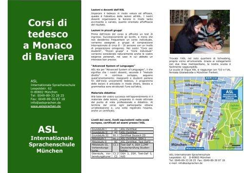 Corsi Di Tedesco A Monaco Di Baviera Asl Asl Sprachenschule