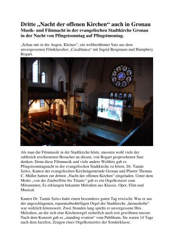 Nacht der offenen Kirchen - Evangelische Kirchengemeinde Gronau