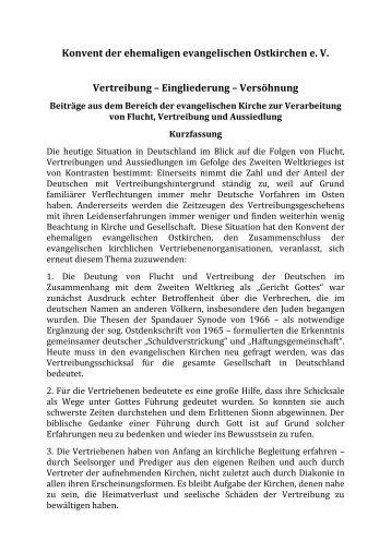 Vertreibung - Konvent der ehemaligen evangelischen Ostkirchen