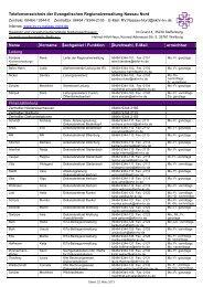 Telefonverzeichnis der Evangelischen Regionalverwaltung Nassau ...