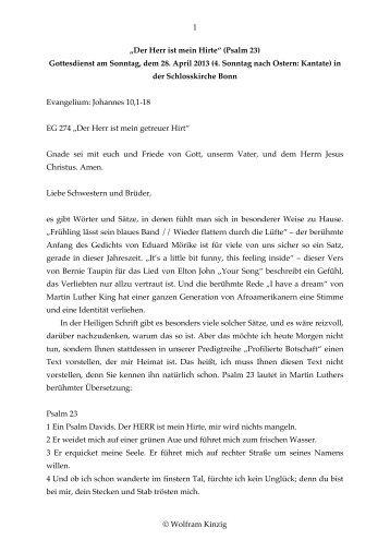 """""""Der Herr ist mein Hirte"""" (Psalm 23) - Evangelisch-Theologische ..."""