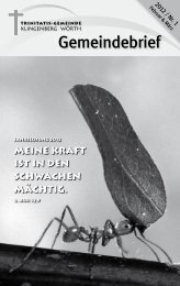 Gemeindebrief Nr. 1/2012 - Trinitatisgemeinde Klingenberg