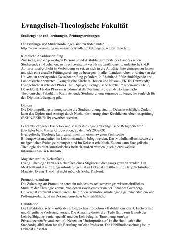 Wintersemester 2008/2009 - Evangelisch-Theologische Fakultät