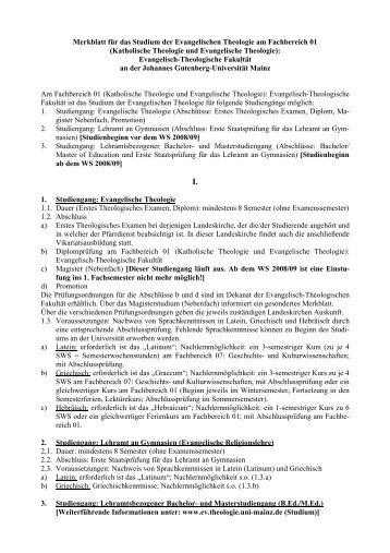 Merkblatt für das Studium der Evangelischen Theologie am ...
