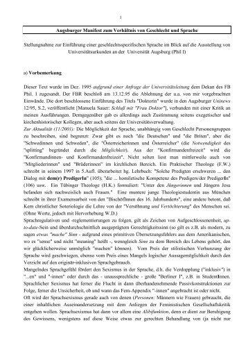 Augsburger Manifest zum Verhältnis von Geschlecht und Sprache ...