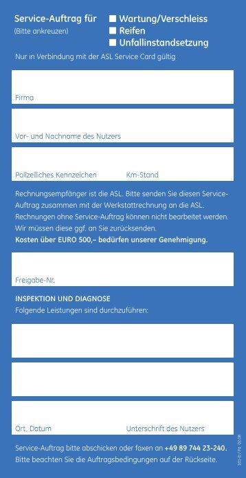 Service-Auftrag für Wartung/Verschleiss Reifen Unfallinstandsetzung