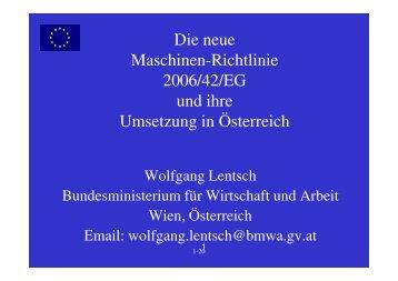 Die neue Maschinenrichtlinie und ihre Umsetzung - EVAL.at