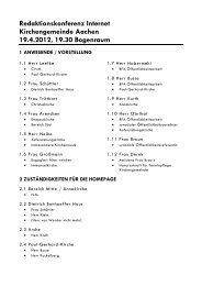 Redaktionskonferenz Internet Kirchengemeinde Aachen 19.4.2012 ...