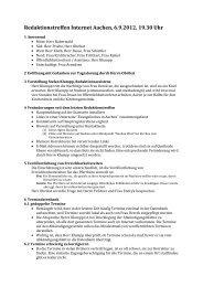 Redaktionstreffen Internet Aachen, 6.9.2012, 19.30 Uhr